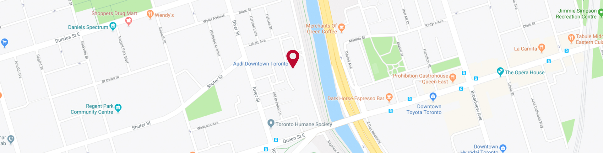 Audi Downtown Toronto map